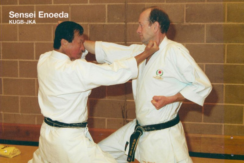 <p>Sensei Enoeda with Sensei Dudley Wheatcroft</p>